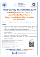 Hakkı Ögelman Yaz Okulu 2019: Astrofizikte Modelleme